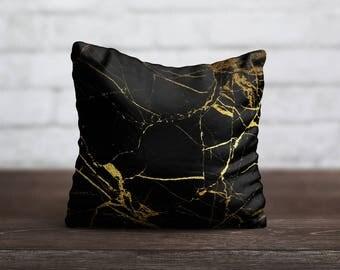 Gold Marble PillowCase Luxury Throw Pillow Cover Black Pillow Decorative PillowCase Toss Pillow Silk Pillow Case Satin PillowCase Home Decor