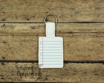 Paper Key Fob Snap Tab Keychain Machine Embroidery Design