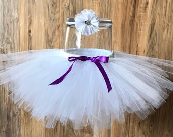 White tutu with purple bow