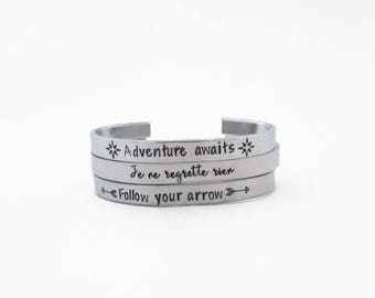 Hand stamped cuff bracelet, Personalized bracelet, Motivational jewelry, Mantra bracelet,