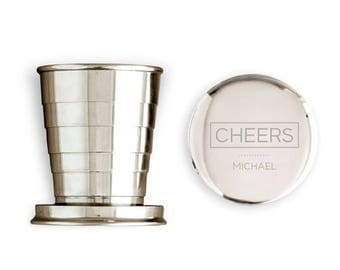 Personalised Colapsible Silver Shot Glass with Lid, Wedding Gift, Best Man gift, Christmas Gift