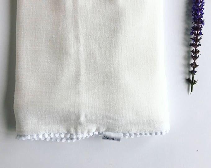 NomiLu White Mulsin Pom Blanket -- Cotton Muslin Gauze Swaddle Blanket -- Swaddle Blanket