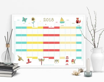 A2 Landscape Nature Wall Planner 2018