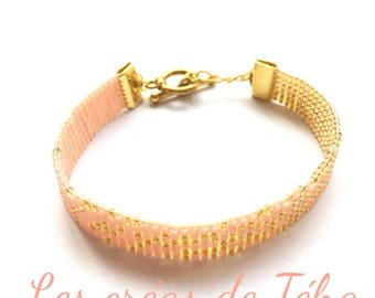 Lovely gold and flesh pink bracelet woven with miyuki beads