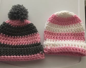 Homemade crocheted baby girl striped hats