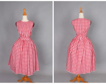 """Clarence Dress """"Sunday Picnic"""" in Red Checkered Gingham Print"""