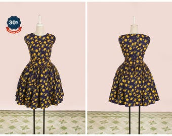 "SAMPLE SALE! Clarence Dress  ""Midnight Garden"" Floral Yellow Roses on Navy Blue - Rose Print"