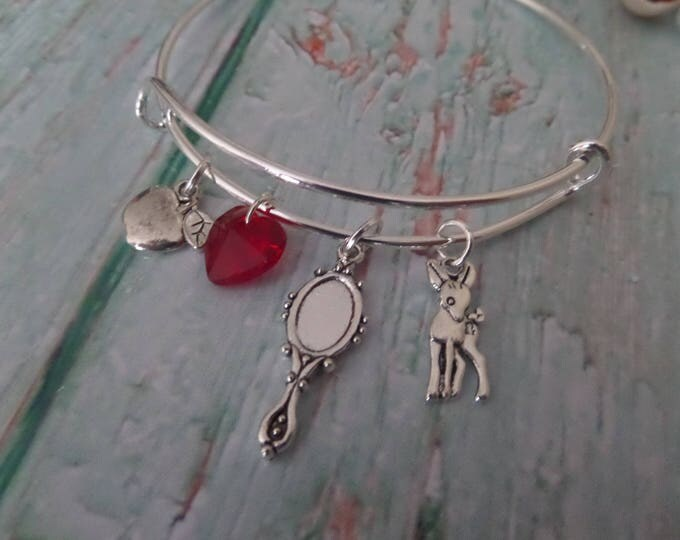 SNOW WHITE inspired silver charm bangle / bracelet- princess fan gift - xmas - party bag favours