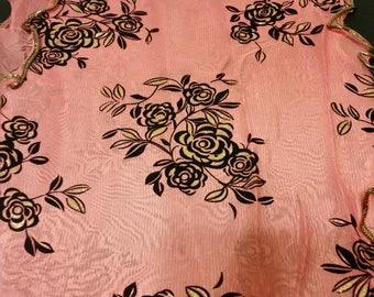 Glitter Peach Rose Scarf