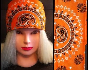 Orange Paisley Bling Bandana