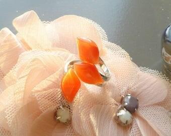 """petal orange"" silver and Tangerine orange cat's eye glass cabochon ring"