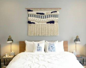 "Large Woven Wall Hanging, Handmade Tapestry, Mid Century Modern, Boho Decor, Macrame hanging, Fiber Art "" Royal"""