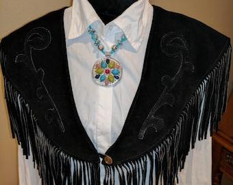 Black Leather Fringe Collar