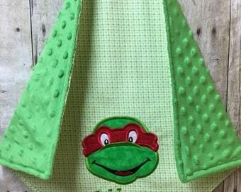 Ninja Turtle Lovey Blanket, Baby Lovey Blanket, Ninja Turtle Security Blanket, Security Blanket, Personalized Lovey Blanket