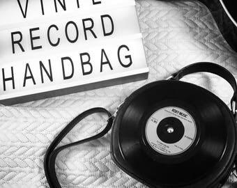 7'' Vinyl Record Circular Handbag with adjustable shoulder strap, Quirky, Cool, Fashion, Retro, Gift, Unique