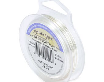 Artistic Wire, 22 Gauge (.64mm), Silver Plated, Tarnish Resistant Silver, 10 yd (9.1 m)
