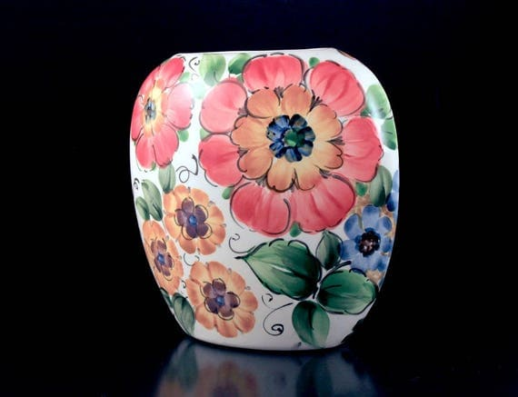 Pillow Vase, Floral, Hand Painted, Signed By Artist, 6 Inch