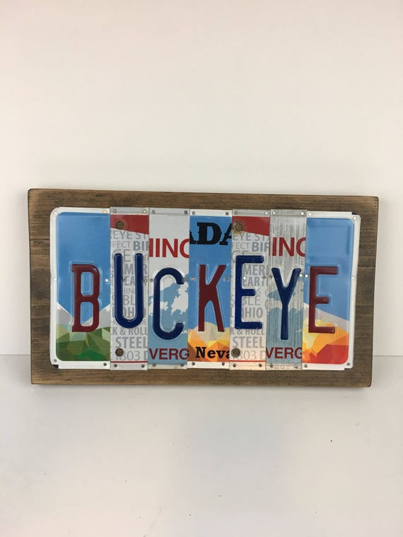 Buckeye License Plate Sign - License Plate Wall Art - Rustic Sign
