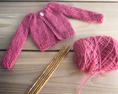 The Willow Cardigan, PDF pattern, doll clothes, doll cardigan, knitting pattern, October Rose pattern,