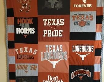 University of Texas Cuddle T-shirt Lap Blanket, Texas Longhorn T-shirt quilt, Pieced Tee shirt quilt, Custom T-Shirt Quilt.
