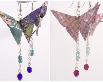 Blue Origami butterflies earrings - pink