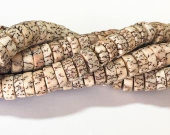 "Natural Betel Nut Beads Salwag rondelle 16"" strand"