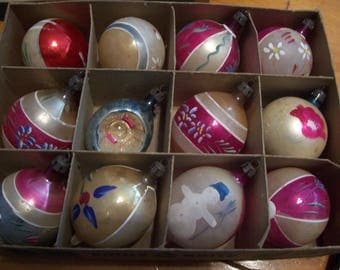 Twelve Assorted Made in Poland Christmas Ornaments