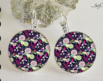 Stud Earrings with cabochon 18 mm * flowers * (101016)