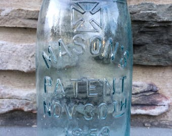 Antique Blue Glass Mason Jar...1858. Iron Cross. Patent. Old. Vintage. Canning. Zinc. Lid.