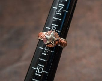 Copper and Silver Lone Star Ring - Round - Texas