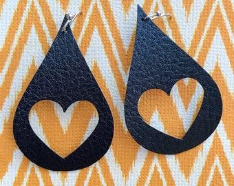 Open Heart Leather Earrings