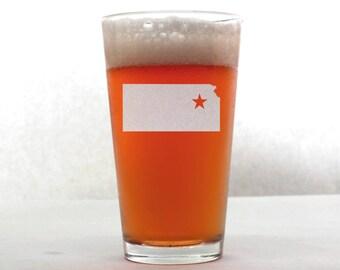 Kansas Beer Glass - State Pint Glass - Pint Glass - Personalized Pint Glass - Etched Pint Glass - Groomsmen Pint Glass