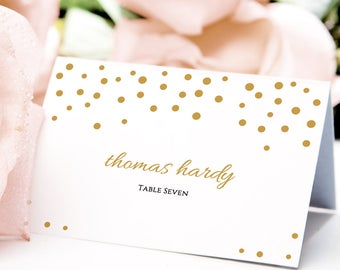 Gold confetti name place card template 3.5x2.5, flat and folded wedding table name place cards, instant download | Orlando | editable