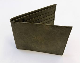 Military green leather men's wallet. Wallet leather military