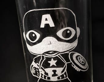 Captain America, Hand-Engraved Glass