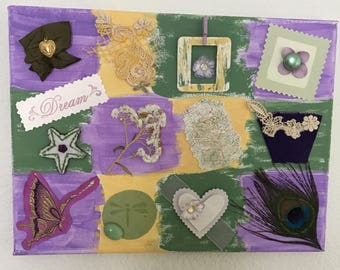 Mixed Media Canvas Art Collage in Purples, Green, Yellows