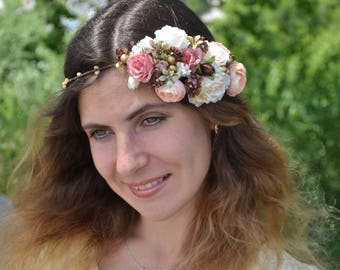 Wedding halo Ivory wedding headband Brown Bridal headband Flower crown Flower halo Bridal headpiece Rustic wedding Woodland flower crown