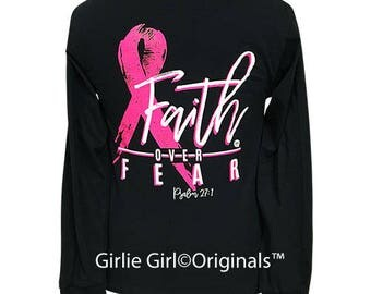 Girlie Girl Originals Faith Over Fear-Cure Black Long Sleeve T-Shirt