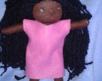 Doll Waldorf 20 cm Brown curly hair African
