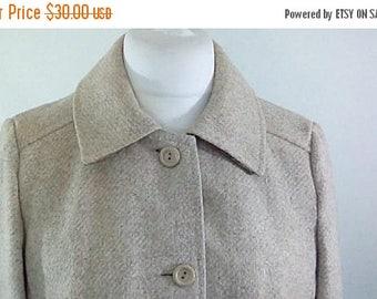 summer sale Vintage coat beige wool mix swing coat 60s Size Small to Medium UK 10 12