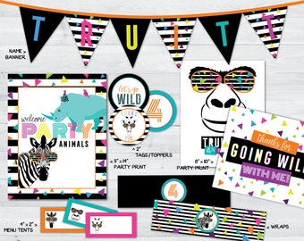 party animal birthday party printables, party animal party, party animal party decorations, zoo birthday party, safari birthday