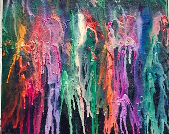 3D Color Drips - Melted crayons on Acrylic