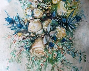 "Original Watercolor Painting, Blue White Flower, 1802095, 12""x15"","