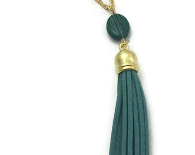 Tassel Necklace, Green Tassel Necklace, Blue Tassel Necklace with Gemstone, 30 inch chain, Long Trendy Tassel Necklace