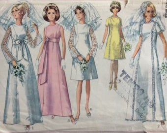 Simplicity 7479 misses wedding or bridesmaid dress size 10 bust 32 1/2 vintage 1960's sewing pattern