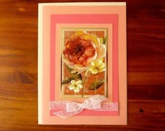 Floral Birthday Card, Handmade Birthday Card, 5x7 Happy Birthday Card for Her, Feminine Birthday Card,  Paper Handmade Greeting Card,