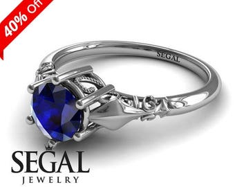 Blue Sapphire Engagement Ring White Gold Sapphire Ring Art Deco Ring Solitaire Ring Victorian Ring Blue Sapphire Engagement Ring - Reagan