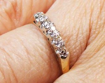 Vintage Diamond Wedding Band 14k Two-Tone Wedding Ring Gold Vintage Diamond Wedding Band Diamond Wedding Ring