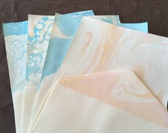 8pc Blue, Orange, and Pink Suminagashi Water Marbled Stationery Gift Set