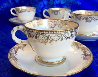 4 Mintons Balmoral Buckingham Palace Mortlock St. Daniel Osborne China Teacups and Saucers England